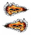 SMALL Long Pair Ripped Metal Design With Flaming Skull Motif Vinyl Car Sticker 73x41mm